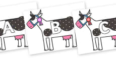 A-Z Alphabet on Cow to Support Teaching on What the Ladybird Heard