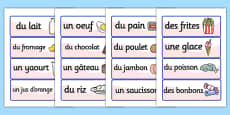 French Food Vocabulary Cards