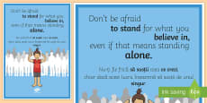 Don't Be Afraid to Stand for What You Believe in Motivational Poster English/Romanian