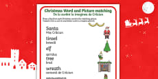 Christmas Word and Picture Matching Activity Sheet English/Romanian