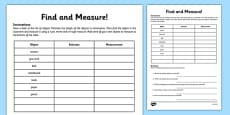 Find and Measure Classroom Objects Activity Sheet