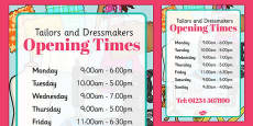 Tailors and Dressmakers Shop Opening Times