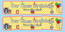 Our Class Birthdays Display Banner Arabic Translation