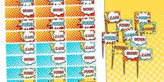 Superhero Themed Birthday Party Toothpick Flags