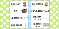 Opticians Role Play Word Cards