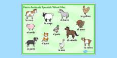 Farm Animals Word Mat Spanish