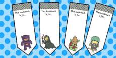 Monster Themed Editable Bookmarks