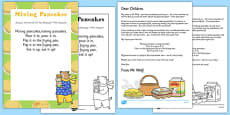 Mixing Pancakes Rhyme Resource Pack to Support Teaching on Mr Wolf's Pancakes