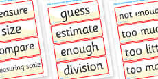Shape Space Measure Vocabulary Cards (Year 4)