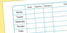 Childminding Record of Attendance Weekly