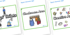 Ash Tree Themed Editable Square Classroom Area Signs (Plain)