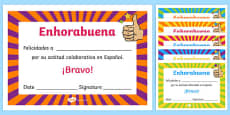 Spanish End of Year Attitude Award Certificate Spanish / Español
