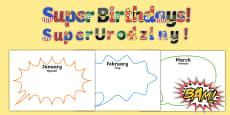 Superhero themed birthday display pack English / Polish
