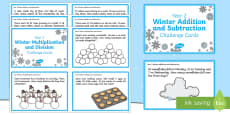 Year 2 Winter Themed Maths Challenge Cards