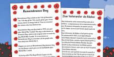 Remembrance Day Information Sheet Romanian Translation