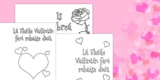 Valentine's Day Card Colouring Templates Gaeilge
