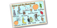 Character Word Mat to Support Teaching on James and the Giant Peach