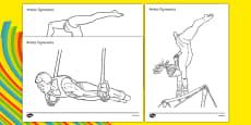 The Olympics Gymnastics Colouring Sheets