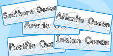 Oceans Of The World Word Cards (Australia)