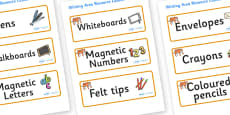 Tiger Themed Editable Writing Area Resource Labels