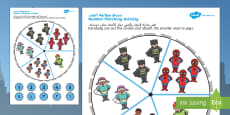 Superheroes 1-5 Number Matching Pegs Arabic/English