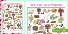 Spring Themed I Spy With My Little Eye Activity Spanish