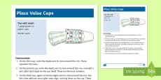 Place Value Cups Maths Activity