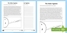 The Solar System Handwriting Activity Sheet