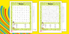 The Olympics Tennis Differentiated Word Search