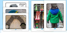 Winter Clothes Display Photographs Arabic Translation