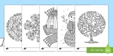* NEW * Winter-Themed Mindfulness Coloring Activity Sheets