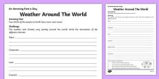 Weather Around The World Activity Sheet