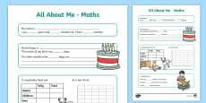 All About Me Maths Display Poster Activity Sheet Year 3-4