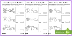 KS1 Maths Giving Change At The Toy Shop Activity Sheets