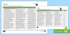 French Articles Choose the Right One Activity Sheet