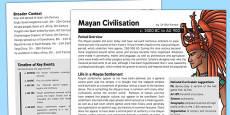 Mayan Civilisation History Fact Sheet for Adults