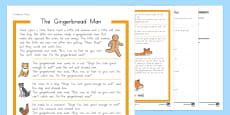 The Gingerbread Man Differentiated Reading Comprehension Activity