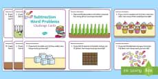 Subtraction Word Problem Challenge Cards