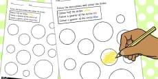Fractions Colouring Sheet Circles