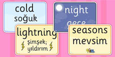 Seasons and Weather EAL Posters Turkish Version