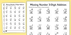 Missing Number Three Digit Addition
