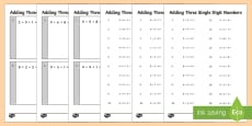 Adding 3 Single Digit Numbers Practice Activity Sheets