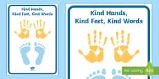 Kind Hands, Kind Feet, Kind Words Display Banner