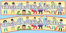 Superhero Classroom Job Display Banner