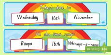 Today's Day and Date Display Pack English/Te Reo Maori
