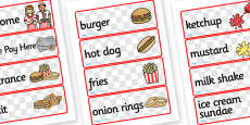 American Diner Role Play Labels