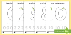 Large Tracing Number Formation Activity Sheets Straight 1