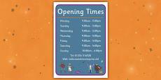 Halloween Fancy Dress Shop Role Play Opening Times