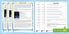Year 5 Planet Earth Differentiated Reading Comprehension Activity