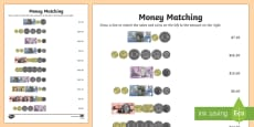Australia Money Matching Activity Sheet